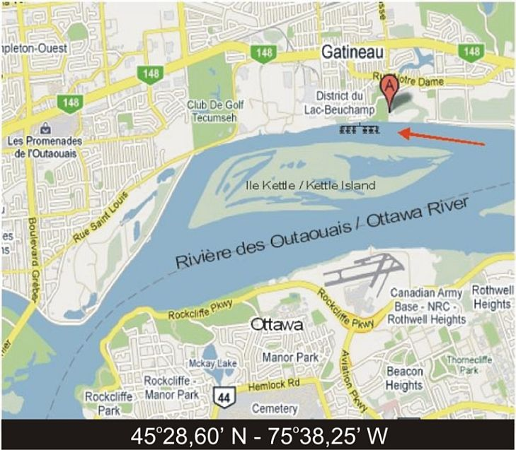 Carte Marina-Kitchissipi-coordonnees-longitude-latitude-Vieux-Gatineau-Ile-Kettle-Riviere-outaouais-Gatineau-Ottawa